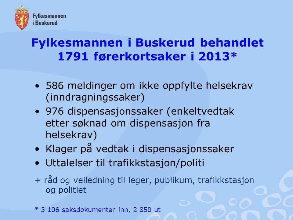 Fylkesmannen i Buskerud behandlet 1791 førerkortsaker i 2013*