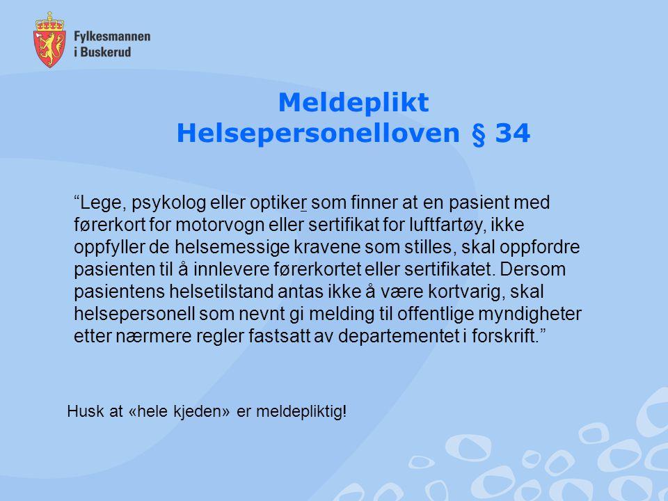 Meldeplikt Helsepersonelloven § 34