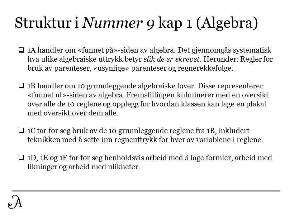 Struktur i Nummer 9 kap 1 (Algebra)