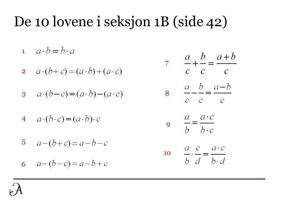 De 10 lovene i seksjon 1B (side 42)