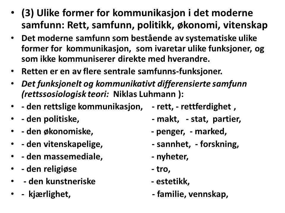 (3) Ulike former for kommunikasjon i det moderne samfunn: Rett, samfunn, politikk, økonomi, vitenskap