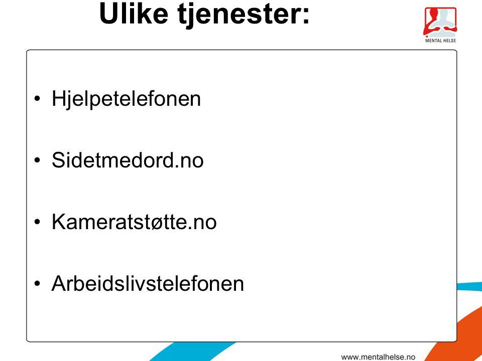 Ulike tjenester: Hjelpetelefonen Sidetmedord.no Kameratstøtte.no