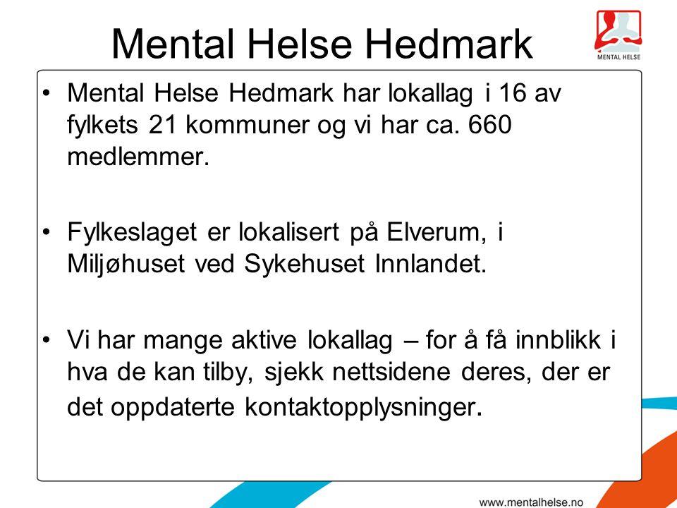 Mental Helse Hedmark Mental Helse Hedmark har lokallag i 16 av fylkets 21 kommuner og vi har ca. 660 medlemmer.