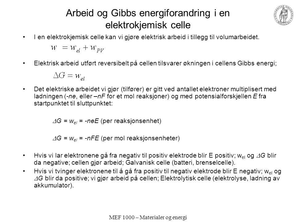 Arbeid og Gibbs energiforandring i en elektrokjemisk celle