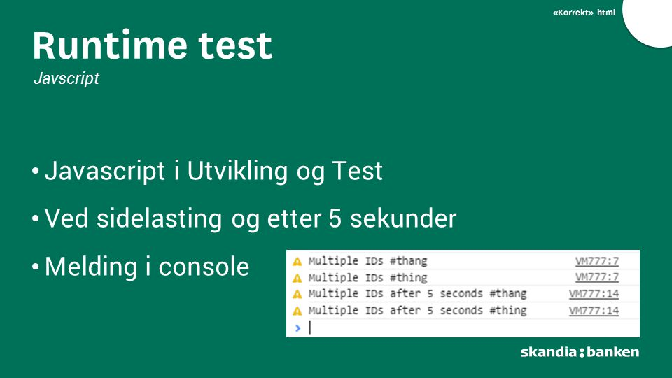Runtime test Javascript i Utvikling og Test