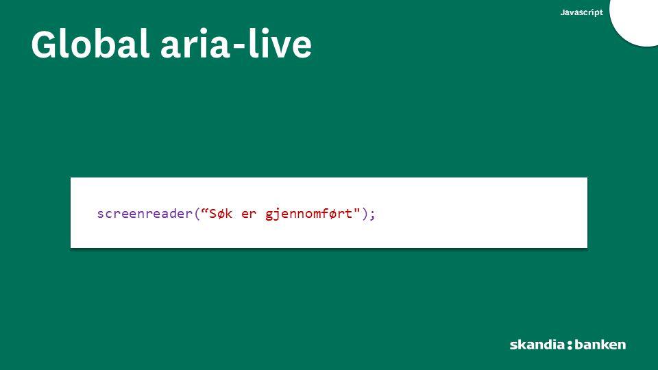 Global aria-live screenreader( Søk er gjennomført );