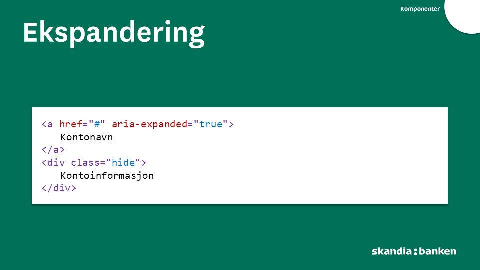 Ekspandering <a href= # aria-expanded= true > Kontonavn