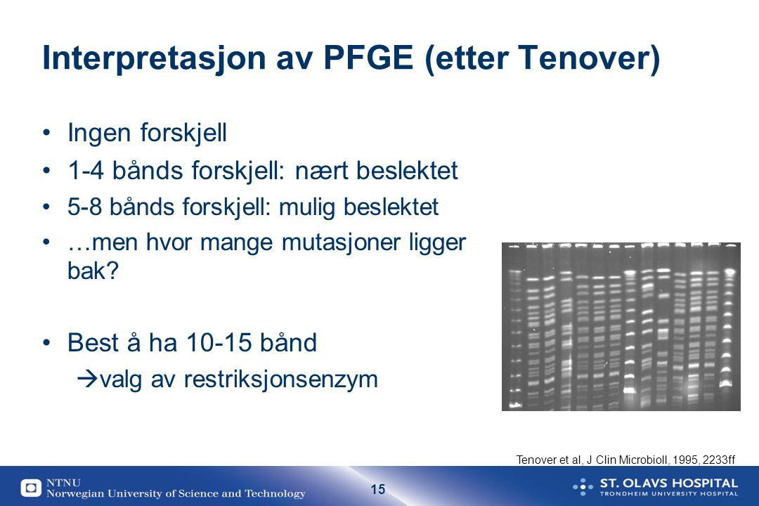 Interpretasjon av PFGE (etter Tenover)