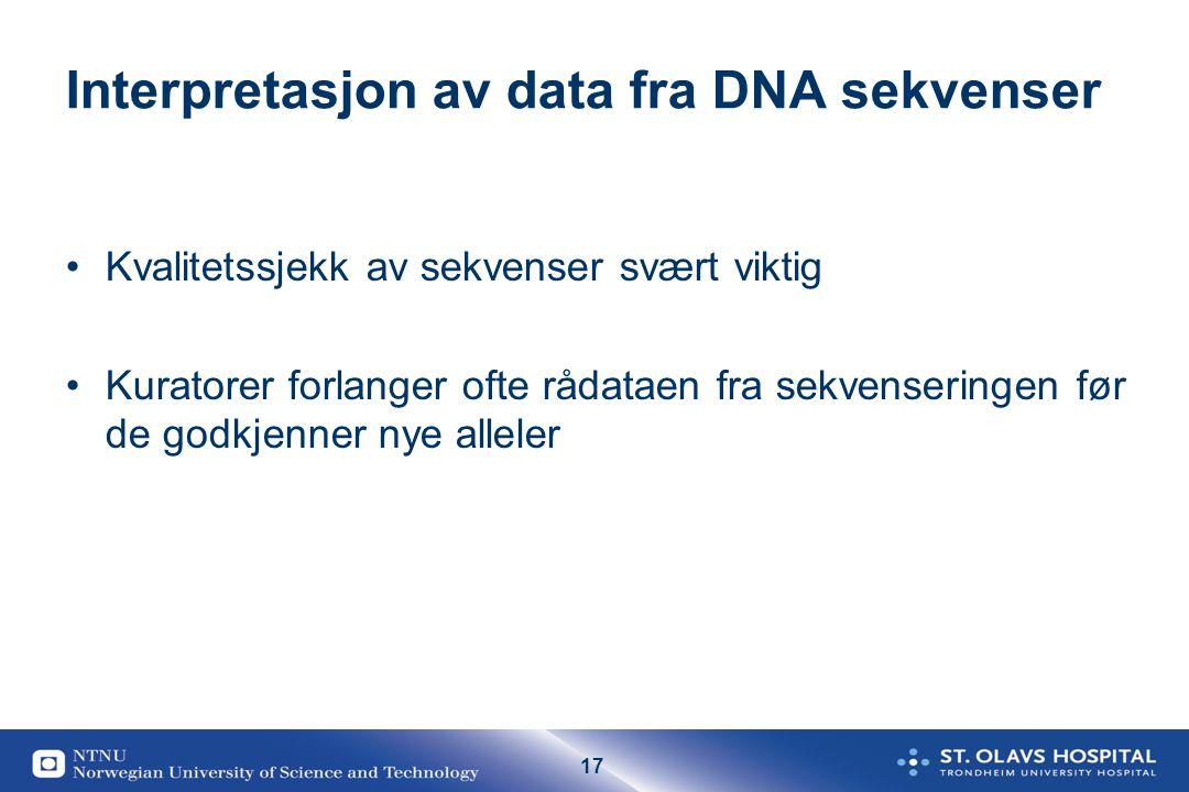 Interpretasjon av data fra DNA sekvenser