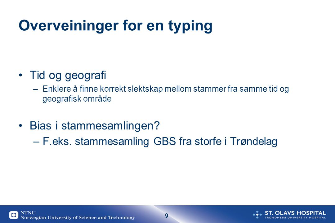 Overveininger for en typing