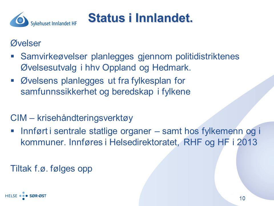 Status i Innlandet. Øvelser