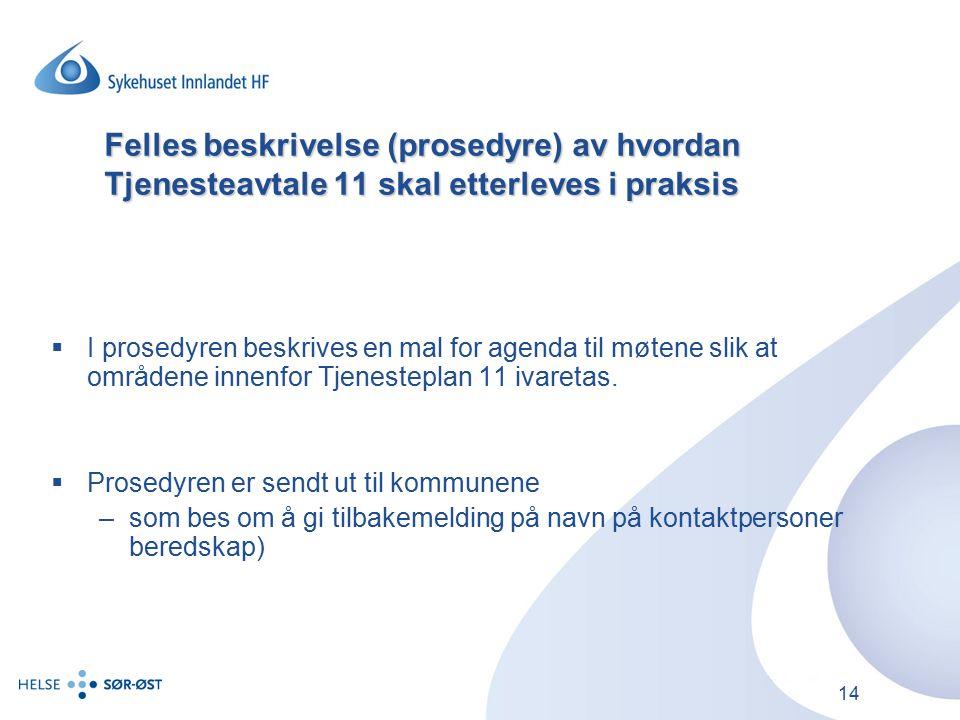 Felles beskrivelse (prosedyre) av hvordan Tjenesteavtale 11 skal etterleves i praksis