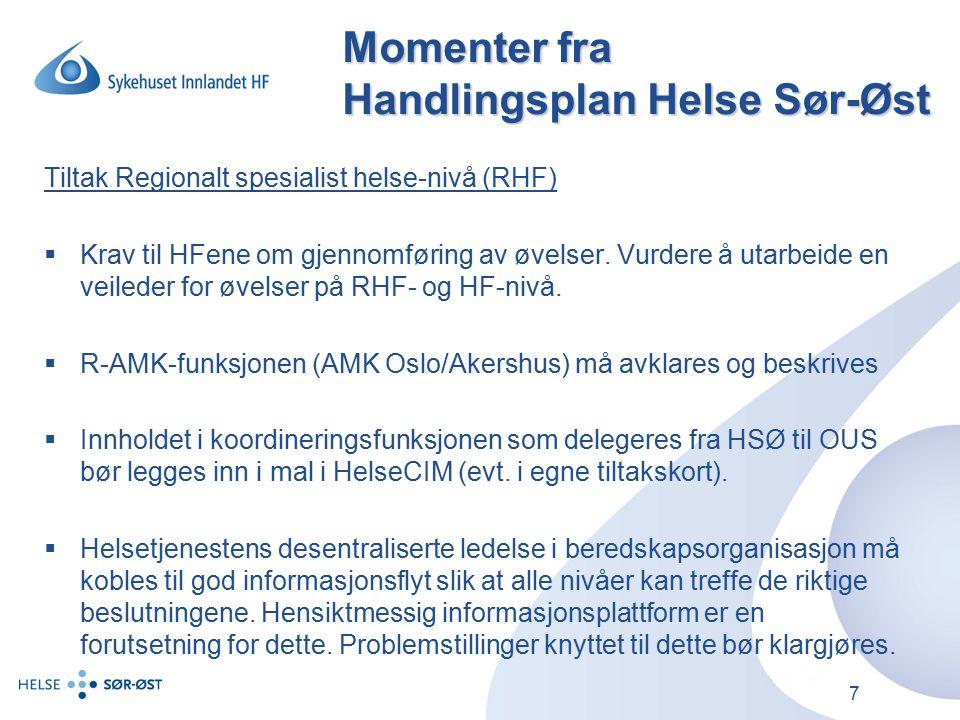 Momenter fra Handlingsplan Helse Sør-Øst