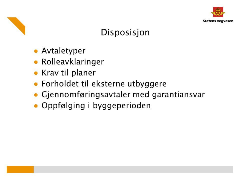 Disposisjon Avtaletyper Rolleavklaringer Krav til planer