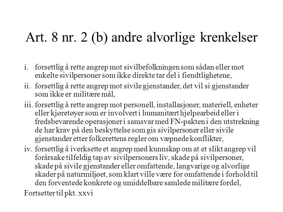 Art. 8 nr. 2 (b) andre alvorlige krenkelser