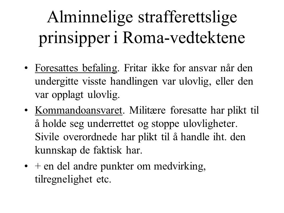 Alminnelige strafferettslige prinsipper i Roma-vedtektene