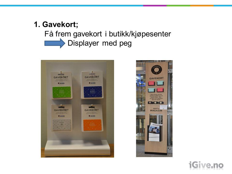 1. Gavekort; Få frem gavekort i butikk/kjøpesenter Displayer med peg