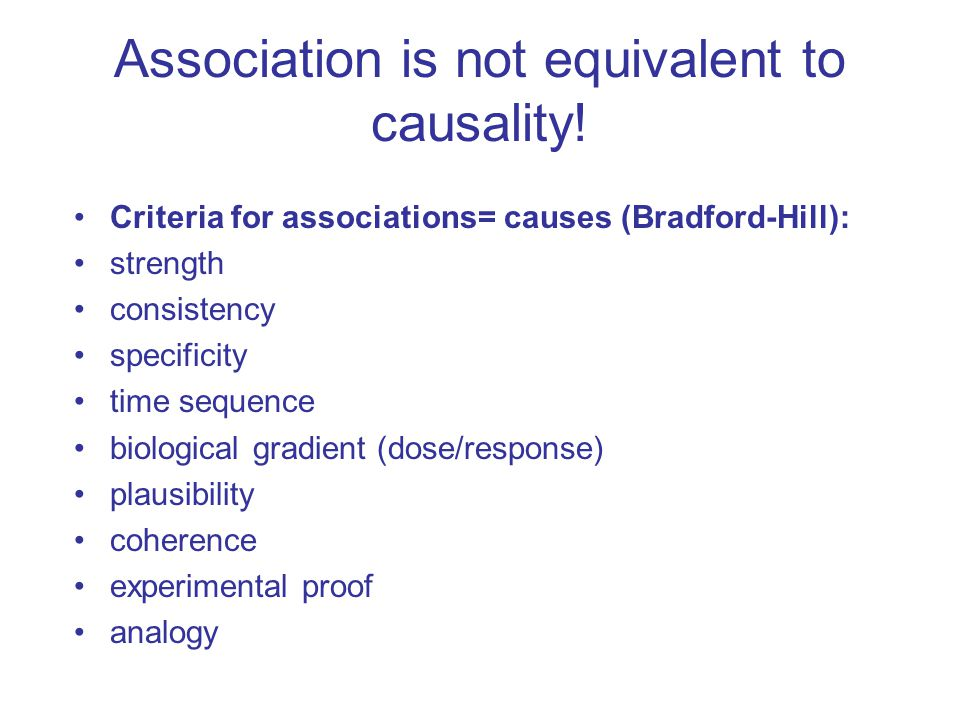 Association is not equivalent to causality!