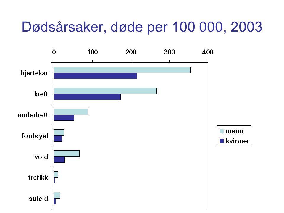 Dødsårsaker, døde per 100 000, 2003