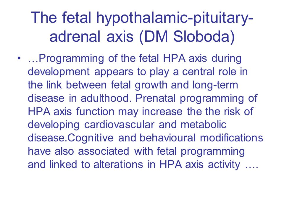 The fetal hypothalamic-pituitary- adrenal axis (DM Sloboda)