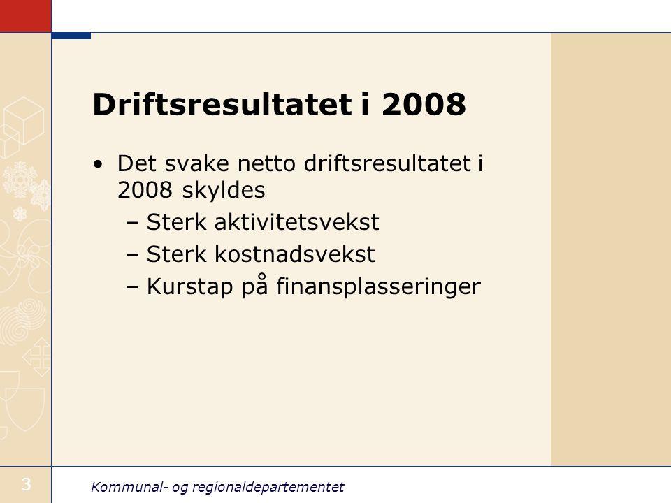 Driftsresultatet i 2008 Det svake netto driftsresultatet i 2008 skyldes. Sterk aktivitetsvekst. Sterk kostnadsvekst.