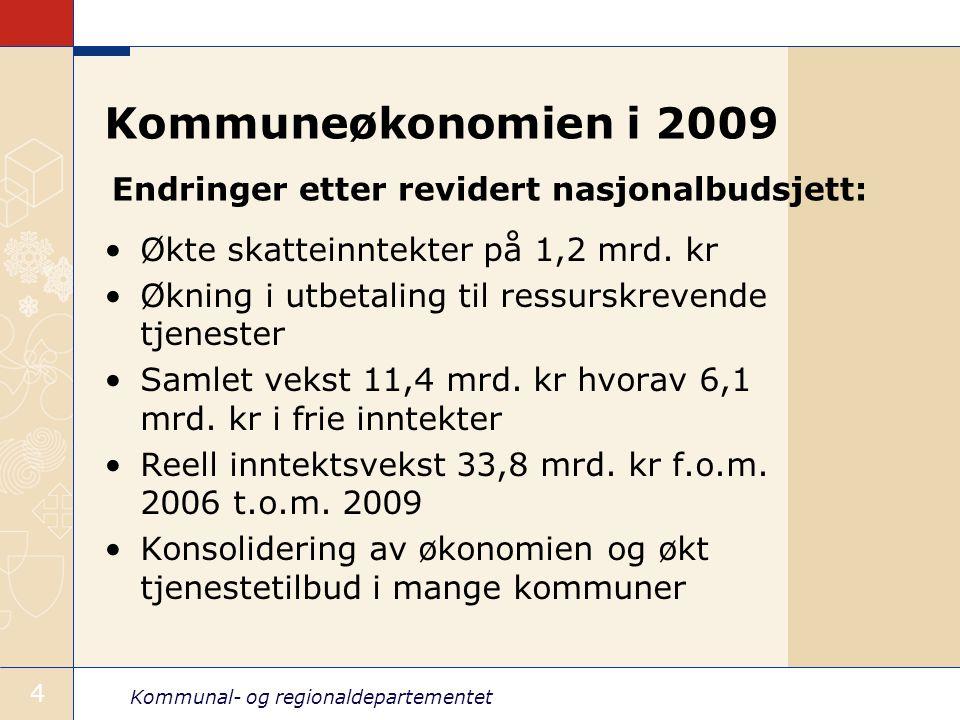 Kommuneøkonomien i 2009 Endringer etter revidert nasjonalbudsjett: