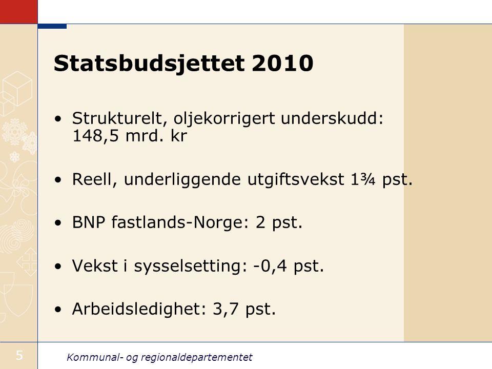 Statsbudsjettet 2010 Strukturelt, oljekorrigert underskudd: 148,5 mrd. kr. Reell, underliggende utgiftsvekst 1¾ pst.