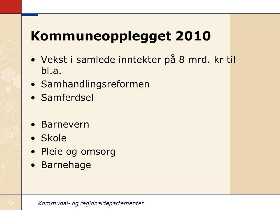 Kommuneopplegget 2010 Vekst i samlede inntekter på 8 mrd. kr til bl.a.