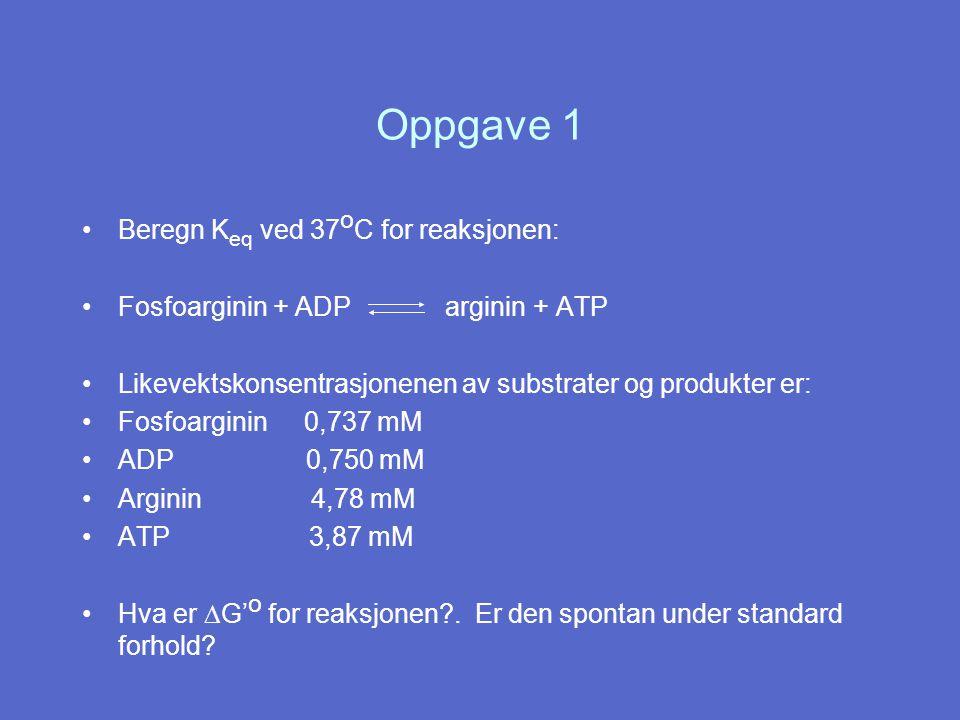 Oppgave 1 Beregn Keq ved 37oC for reaksjonen: