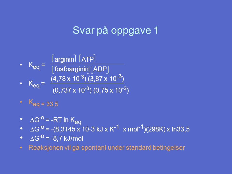 Svar på oppgave 1 DG'o = -RT ln Keq