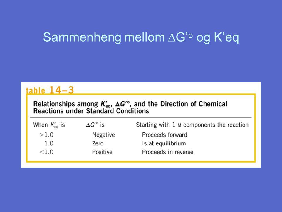 Sammenheng mellom DG'o og K'eq