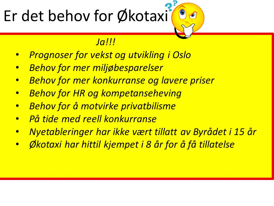 Er det behov for Økotaxi