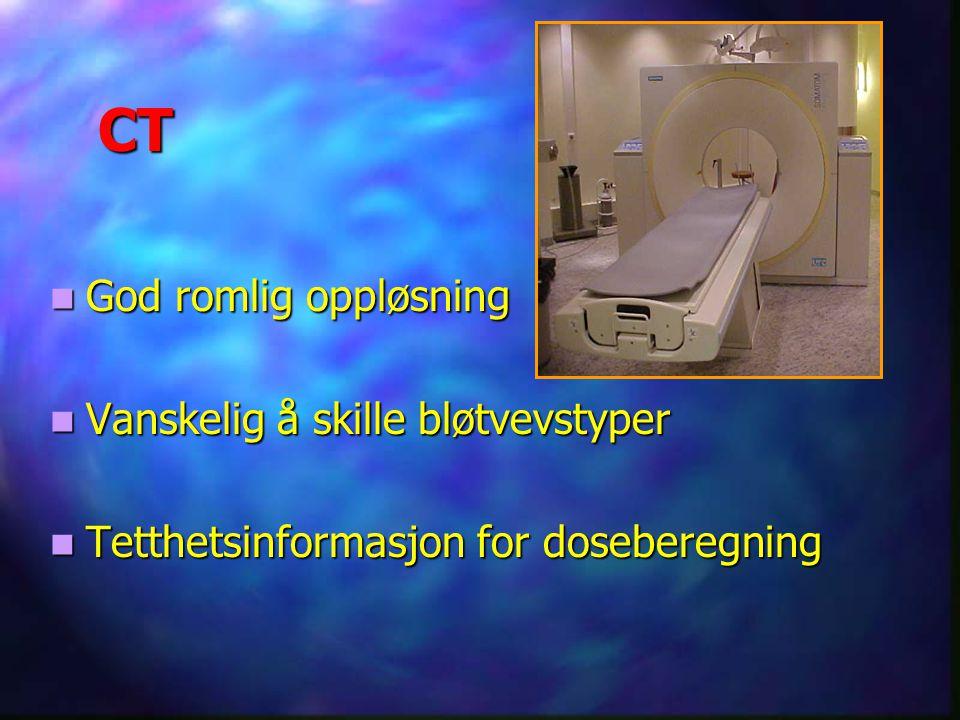 CT God romlig oppløsning Vanskelig å skille bløtvevstyper