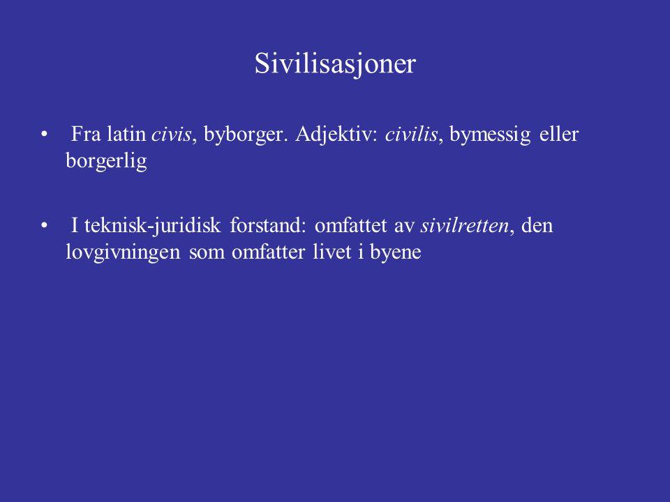 Sivilisasjoner Fra latin civis, byborger. Adjektiv: civilis, bymessig eller borgerlig.