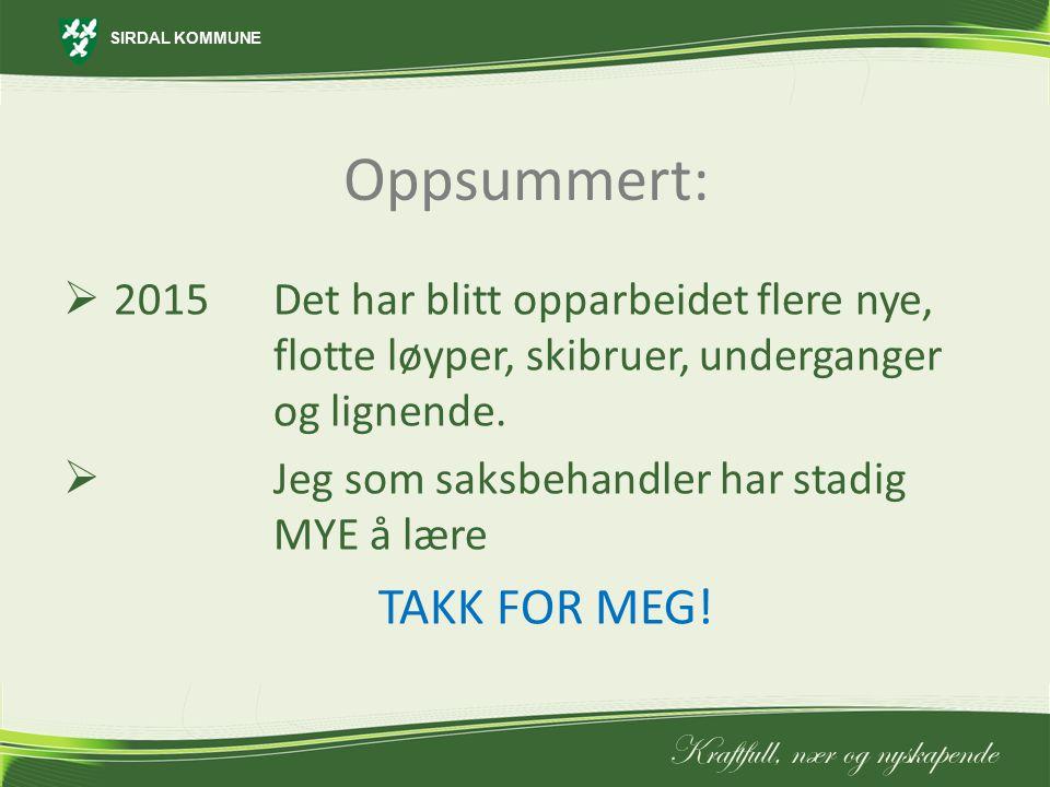 Oppsummert: TAKK FOR MEG!