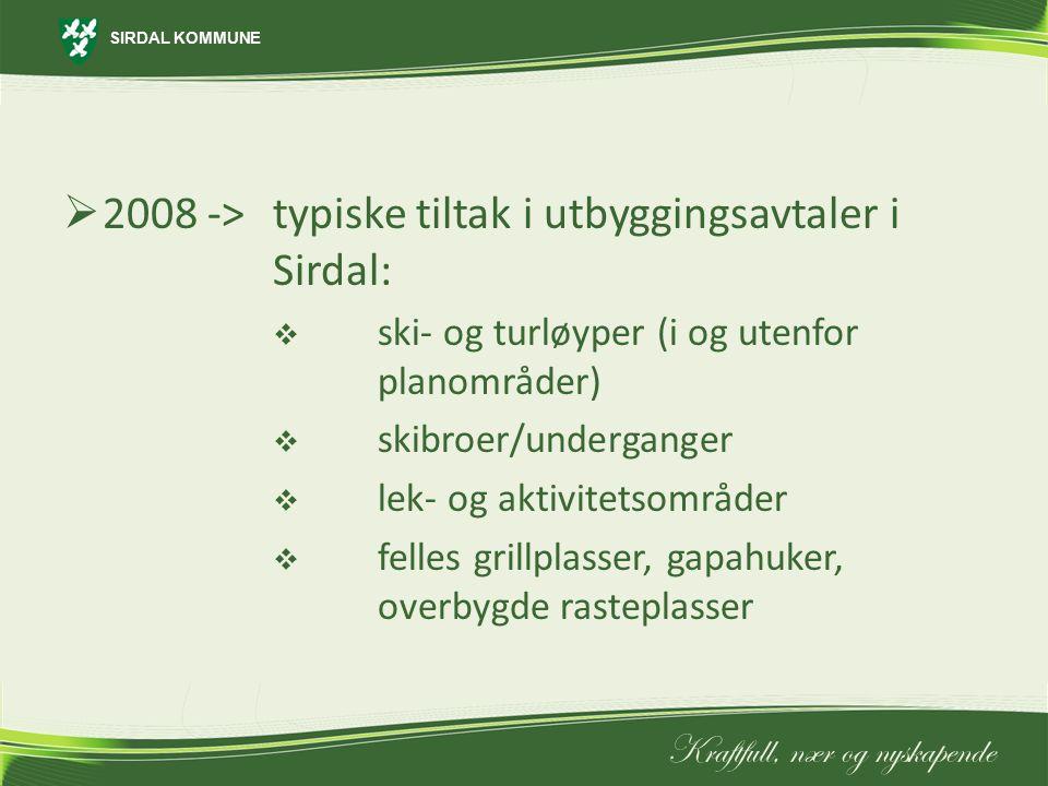 2008 -> typiske tiltak i utbyggingsavtaler i Sirdal: