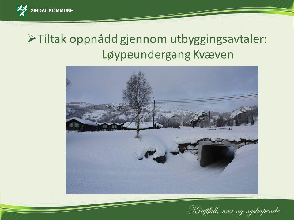 Tiltak oppnådd gjennom utbyggingsavtaler: Løypeundergang Kvæven