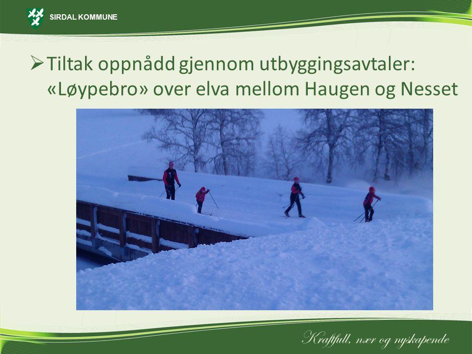 Tiltak oppnådd gjennom utbyggingsavtaler: «Løypebro» over elva mellom Haugen og Nesset