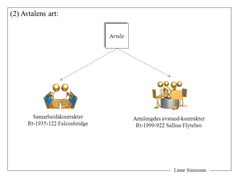 (2) Avtalens art: Avtale Samarbeidskontrakter
