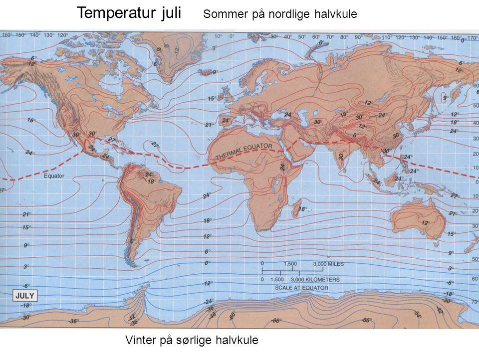 Temperatur juli Sommer på nordlige halvkule