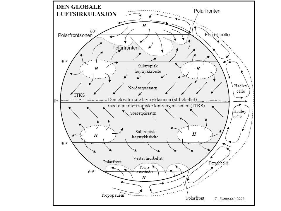 DEN GLOBALE LUFTSIRKULASJON Polarfronten Polarfrontsonen