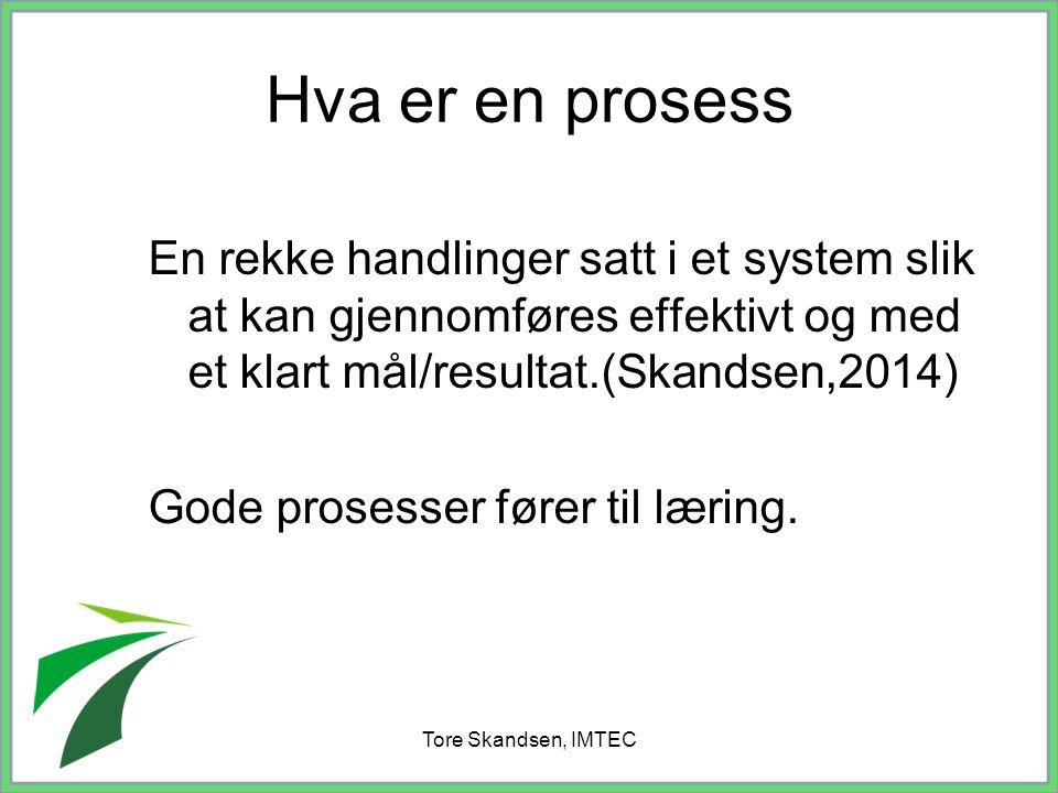 Hva er en prosess En rekke handlinger satt i et system slik at kan gjennomføres effektivt og med et klart mål/resultat.(Skandsen,2014)