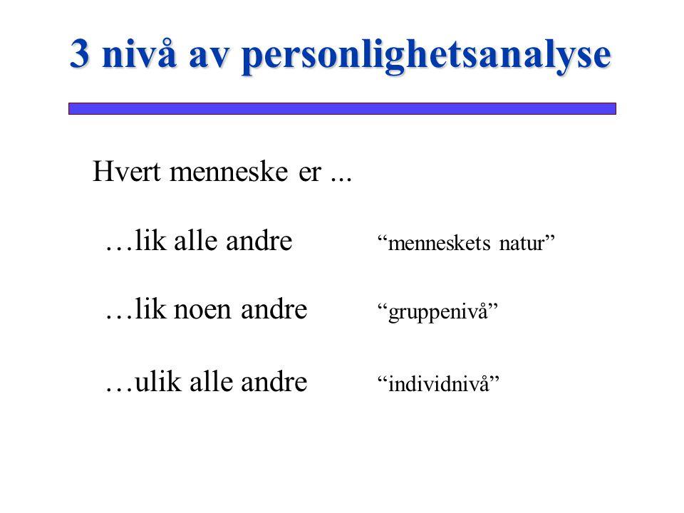 3 nivå av personlighetsanalyse