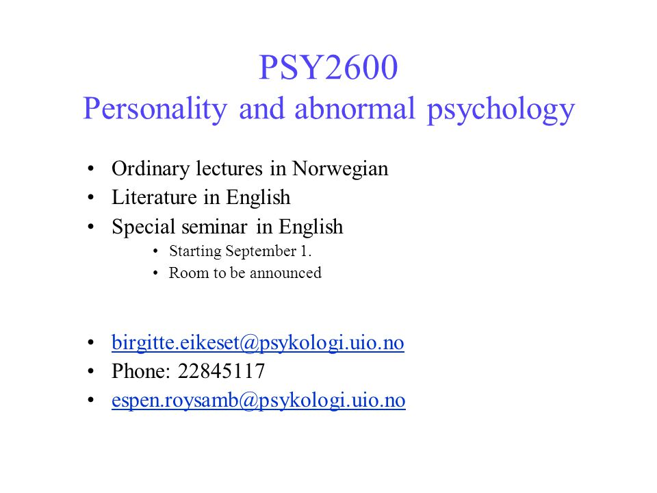 PSY2600 Personality and abnormal psychology