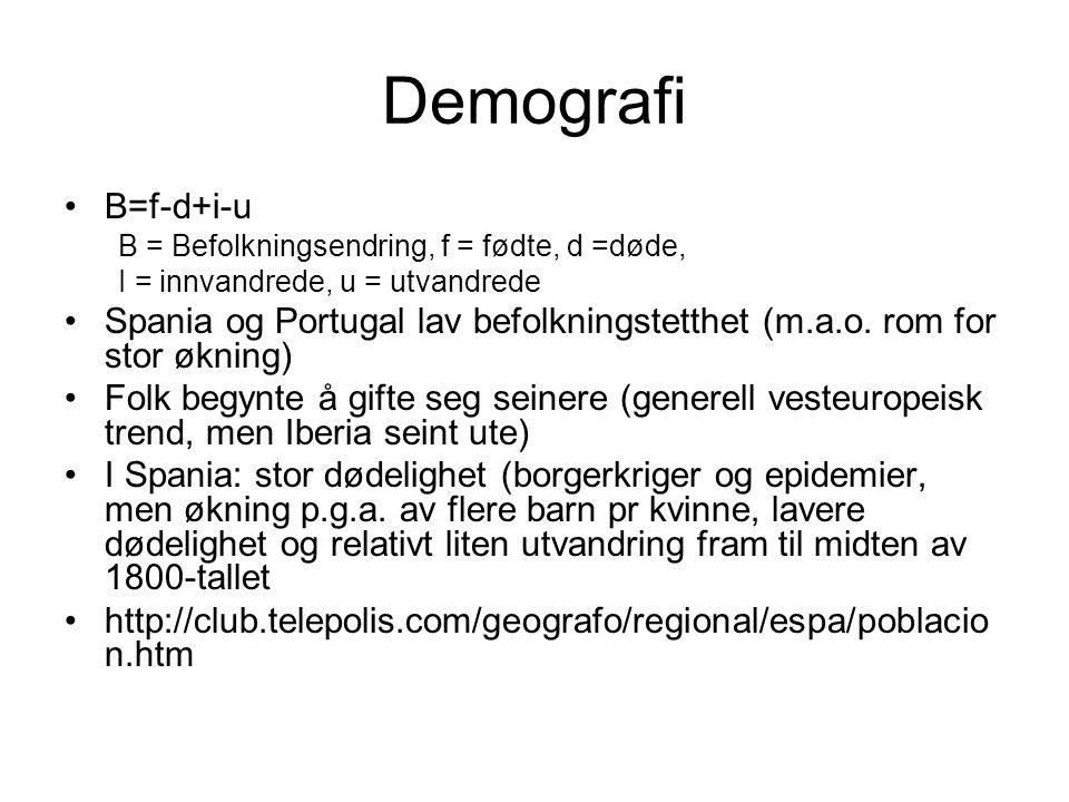 Demografi B=f-d+i-u. B = Befolkningsendring, f = fødte, d =døde, I = innvandrede, u = utvandrede.