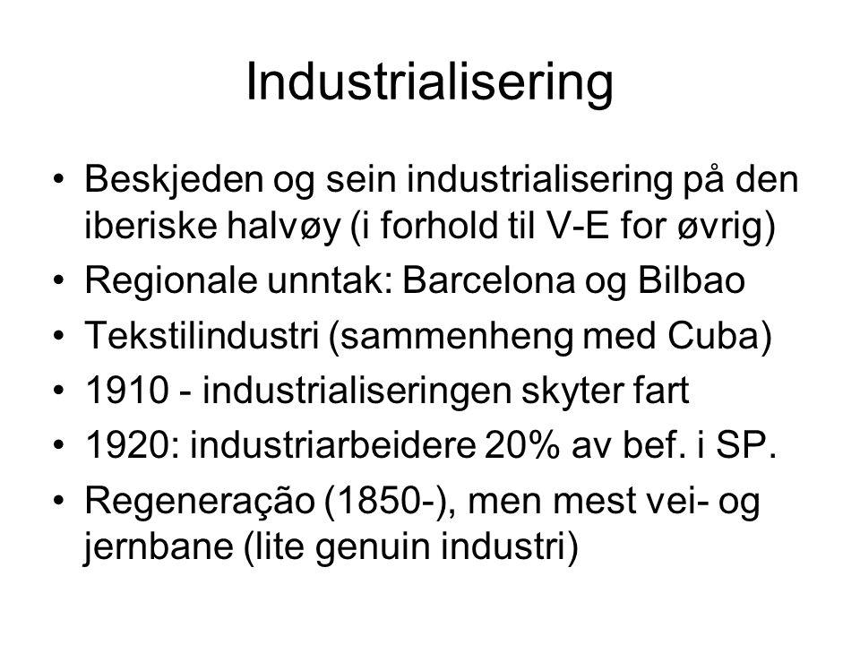 Industrialisering Beskjeden og sein industrialisering på den iberiske halvøy (i forhold til V-E for øvrig)