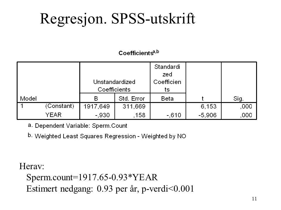 Regresjon. SPSS-utskrift