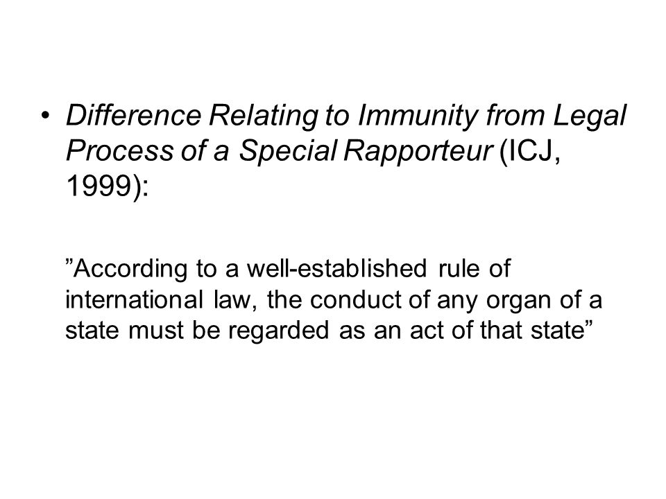 Difference Relating to Immunity from Legal Process of a Special Rapporteur (ICJ, 1999):
