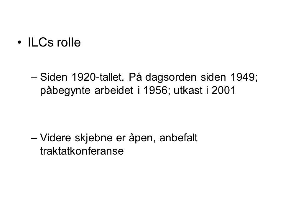 ILCs rolle Siden 1920-tallet. På dagsorden siden 1949; påbegynte arbeidet i 1956; utkast i 2001.