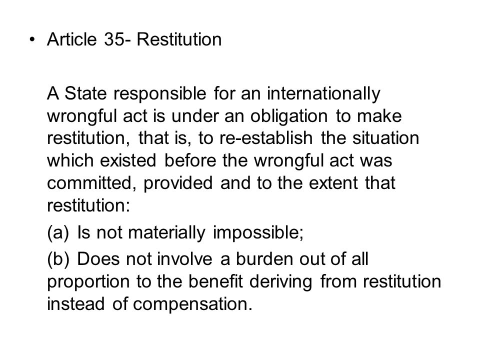 Article 35- Restitution